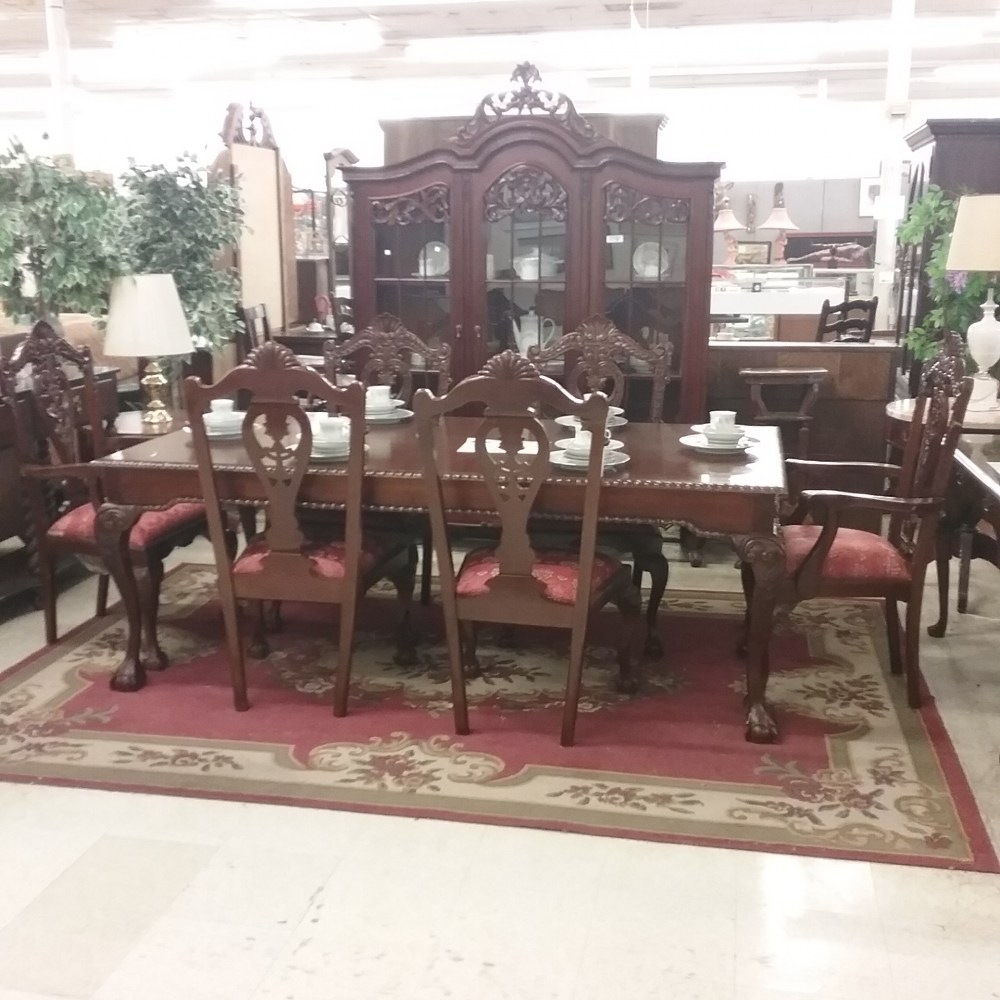 7 Piece Highly Carved And Ornate Dining Table Set
