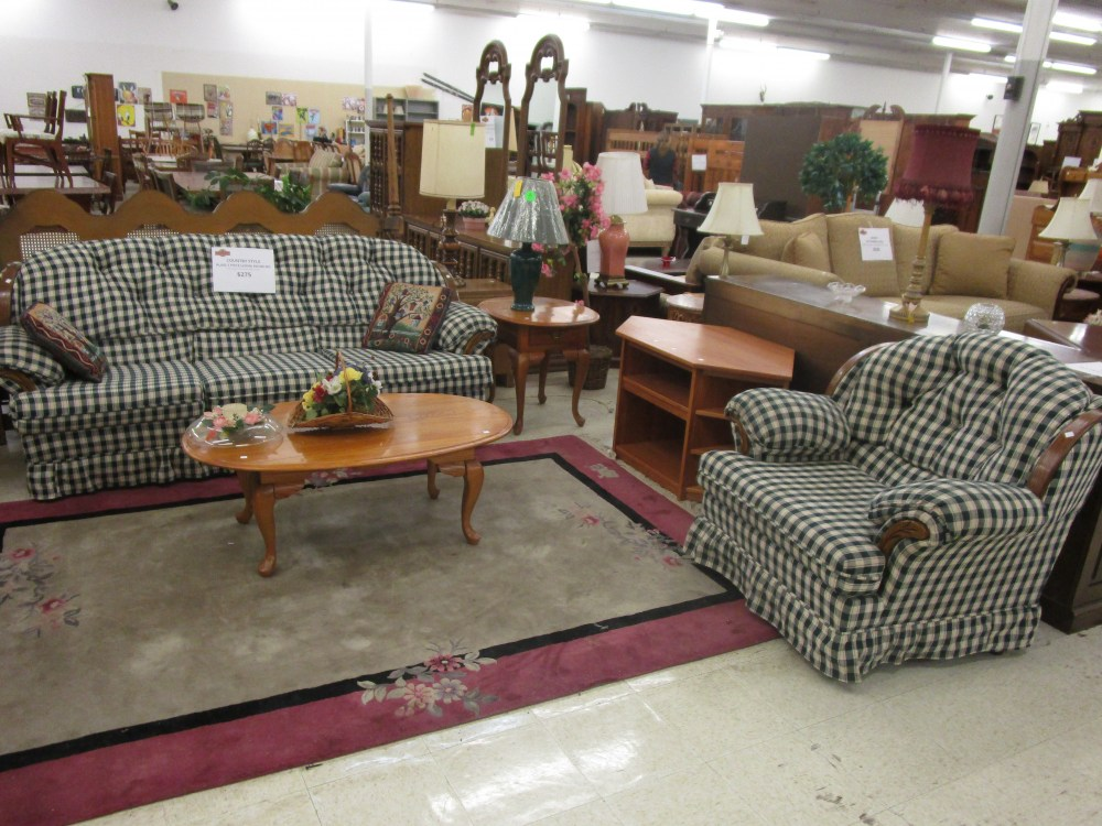 Country Style Plaid 2 Piece Living Room Set